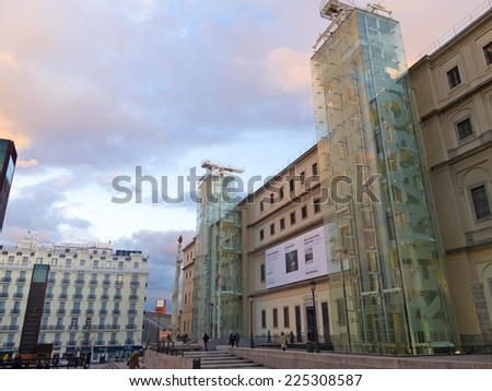 MADRID, SPAIN - MARCH 13: Sunset in Reina Sofia Museum on March 13, 2013 in Madrid. The Reina Sofia Museum is dedicated to the exhibition of modern and contemporary art. - stock photo