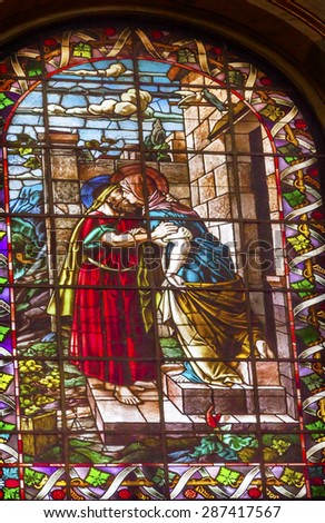 MADRID, SPAIN - MAY 17, 2014 Mary Joseph Stained Glass San Francisco el Grande Royal Basilica Madrid Spain. Basilica designed in the second half of 1700s, completed by Francisco Sabatini. - stock photo
