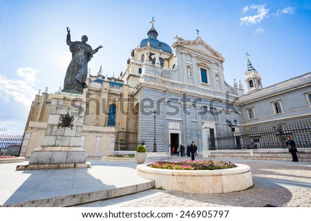 Madrid, Spain - May 6, 2012: Pope John Paul II statue in front of Cathedral Almudena on a spring day in Madrid, Spain - stock photo