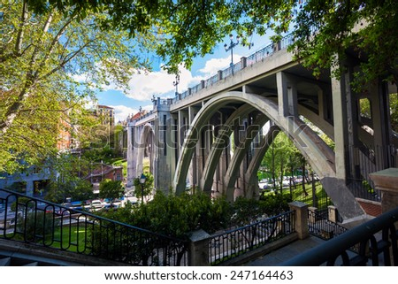 Madrid, Spain - May 6, 2012: Segovia Viaduct on spring in the city of Madrid, Spain - stock photo