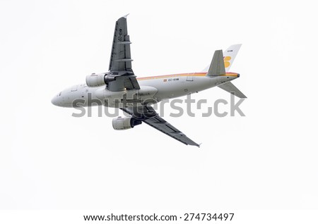 MADRID, SPAIN - MAY 3th 2015: Aircraft -Airbus A319-100-, of -Iberia- airline, is taking off from Madrid-Barajas -Adolfo Suarez- airport, on May 3th 2015. - stock photo