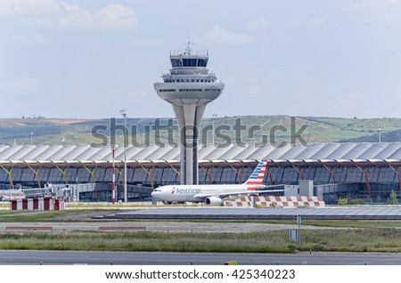 MADRID, SPAIN - MAY 15th 2016: Airliner -Airbus A330-, of -American Airlines- airline, is ready to take off from Madrid-Barajas -Adolfo Suarez- airport, on May 15th 2016. - stock photo