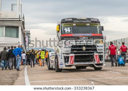 MADRID, SPAIN - OCTOBER 3 2015. XXIX European Truck racing Championship, Jarama circuit. - stock photo