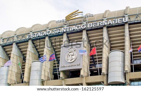 MADRID, SPAIN - SEPTEMBER 19, 2012: Estadio Santiago Bernabeu in Madrid, Spain, on September 19, 2012. It was inaugurated on 14 December 1947 and is owned by Real Madrid Club de Futbol. - stock photo
