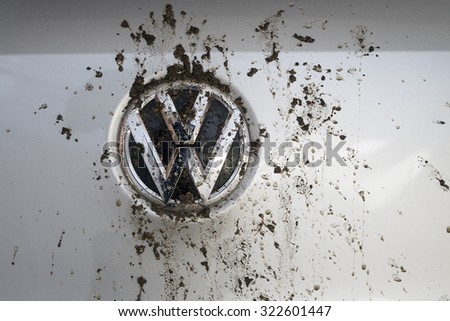 MADRID, SPAIN - SEPTEMBER 29, 2015: Logo bedraggled a Volkswagen Tiguan TDI - stock photo