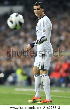 MADRID, SPAIN - September 2nd, 2014 : Portuguese CRISTIANO RONALDO  of REAL MADRID in action during Spanish La Liga match at Santiago Bernabeu Stadium.  - stock photo
