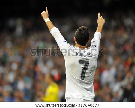 MADRID, SPAIN - September 15th, 2015 :  CRISTIANO RONALDO of REAL MADRID celebrates scoring goal during UEFA Champions League match vs SHAKHTAR DONETSK at Santiago Bernabeu Stadium - stock photo