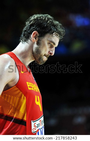 MADRID, SPAIN - September 10th 2014 : PAU GASOL of Spain dejected after the defeat vs France during the 1/4 final game of FIBA BASKETBALL WORLD CUP 2014 at Palacio de los Deportes Arena - stock photo