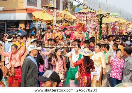 MAE HONG SON, THAILAND-APRIL 7: Poy Sang Long Ethnic buddhist ordination festival, during in parade around township on April 7, 2014 in Mae Hong Son Province, Thailand. - stock photo