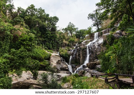 Mae Klang beauty Waterfall  in Chiang Mai Province, Doi Inthanon - stock photo