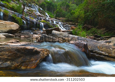 Mae-Ya Waterfall in Chang Mai Thailand - stock photo