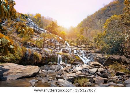 Mae-Ya Waterfall in Chiang Mai Thailand  - stock photo