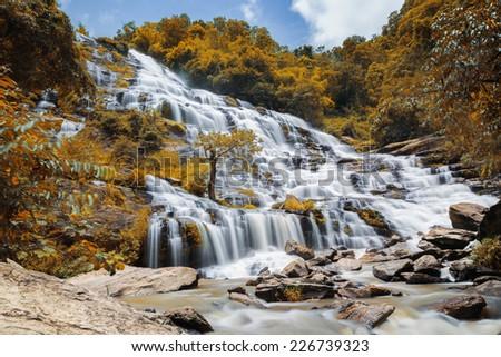 Mae Ya waterfall in Doi Inthanon national park, Chiang Mai, Thailand - stock photo