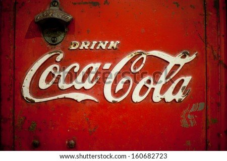 MAEHONGSORN,THAILAND -OCT 27: Old rust condition vintage of Coca Cola logo. on October 27, 2013 in Maehongsorn Thailand. - stock photo