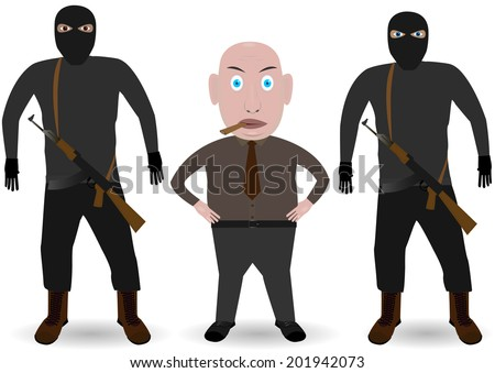 Mafia. Boss and gansters with guns on the white background. - stock photo