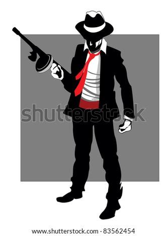 Mafia hitman with gun - raster version - stock photo