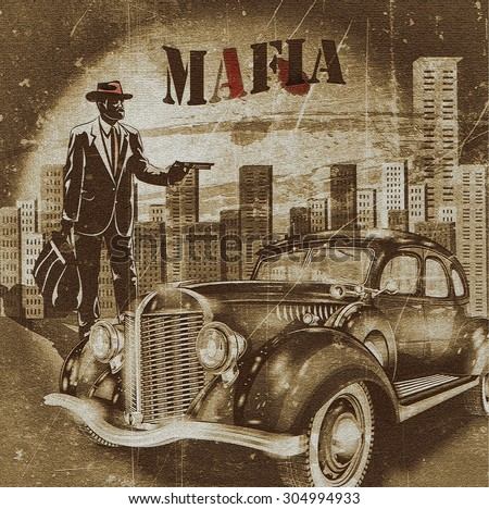 mafia or gangster background - stock photo