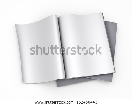 Magazine blank page template - isolated on white background - stock photo