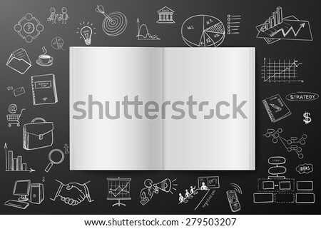 Magazine or book with drawing business strategy plan concept idea - stock photo