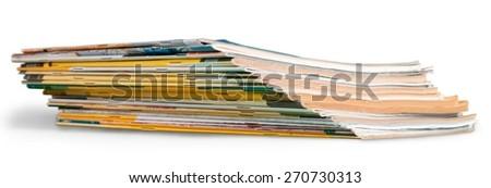Magazine, Stack, Newspaper. - stock photo