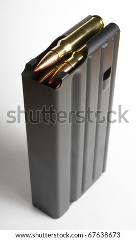 Magazine that was made to hold extra 7.62 cartridges - stock photo