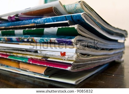 magazines on table - stock photo