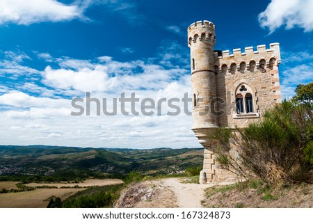 Magdala tour and landscape at Rennes le Chateau in France - stock photo