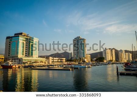 MAGDALENA, COLOMBIA - FEBRUARY 20, 2015: Port in Santa Marta, popular caribbean destination in northern Colombia. - stock photo