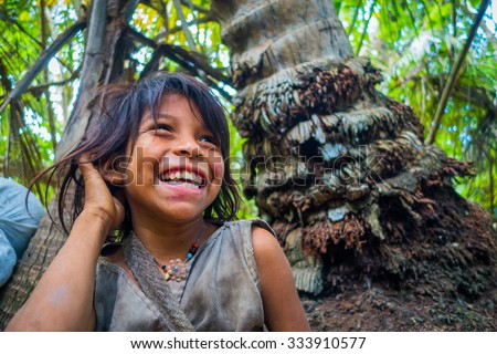MAGDALENA, COLOMBIA - FEBRUARY 20, 2015: Unknow girl belonging to the Kogi people, indigenous ethnic group, living in Sierra Nevada mountain range in Santa Marta, Colombia - stock photo