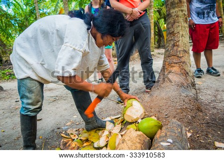 MAGDALENA, COLOMBIA - FEBRUARY 20, 2015: Unknown young man cutting coconuts belonging to the Kogi people, indigenous ethnic group, living in Sierra Nevada mountain range in Santa Marta,  - stock photo