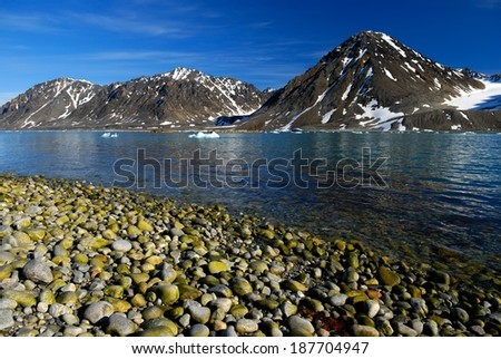 Magdelena Bay on the north west coast of Svalbard  - stock photo