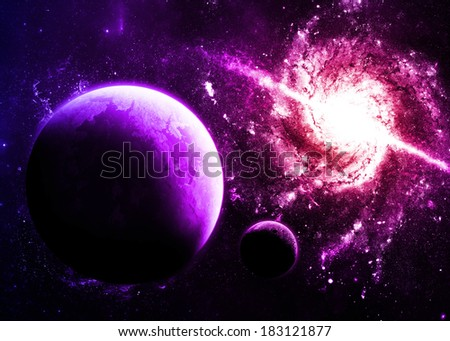 Magenta Planet and Galaxy - Elements of this Image Furnished By NASA - stock photo
