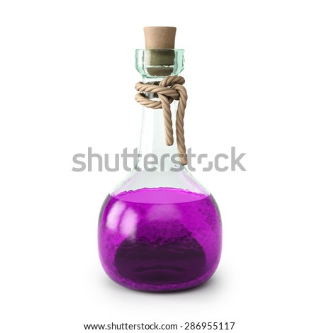 Magenta potion in the bottle. isolated on white background. - stock photo