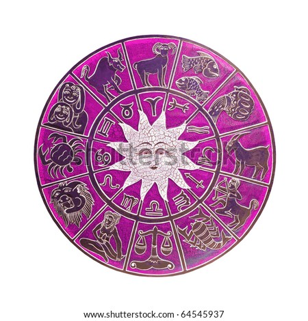 Magenta zodiac wheel with clipping path included - stock photo