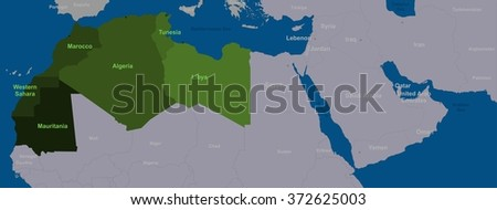 Maghreb states and neighboring North Africa - stock photo