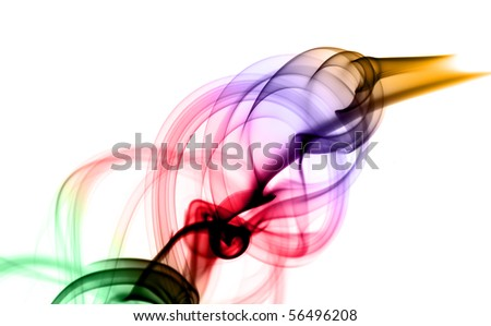 Magic Abstract puff of colored smoke over the white background - stock photo