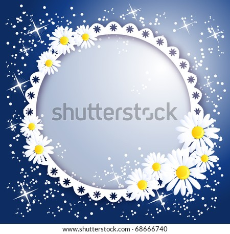 Magic background with chamomiles,  and a place for text or photo. Raster version of vector. - stock photo