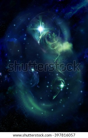 Magic beautiful space nebula - stock photo
