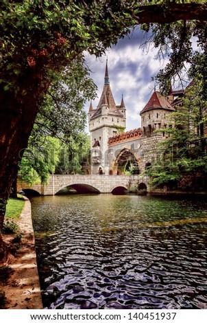 Magic castle in Budapest (Vajdahunyad Castle) - stock photo