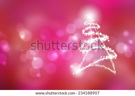 magic christmas tree on pink background with bokeh - stock photo