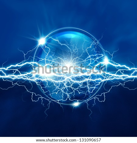 Magic crystal sphere with electric lighting, abstract backgrounds - stock photo