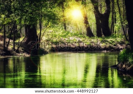 Magic Emerald River In Sunny Green Forest - stock photo