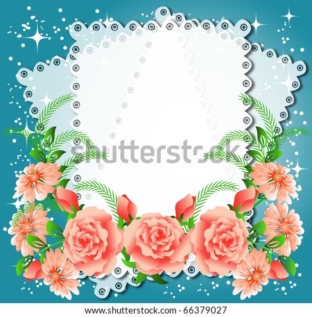 Magic floral background with stars and a place for text or photo. Raster version of vector.  . - stock photo
