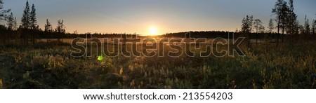 Magic foggy sunrise in Finland - stock photo