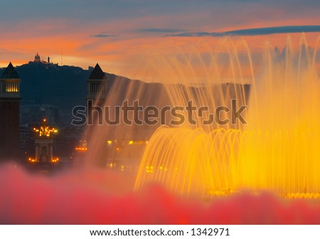 Magic fountain, Palau National, Barcelona, Spain - stock photo