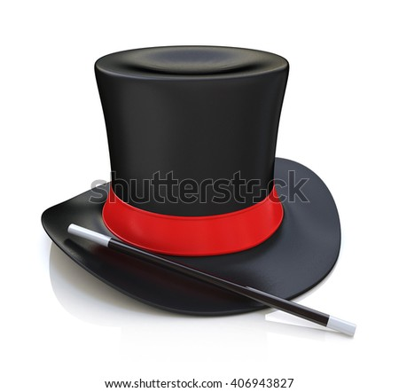Magic hat and wand, 3D render isolated on white background.3D Illustration - stock photo