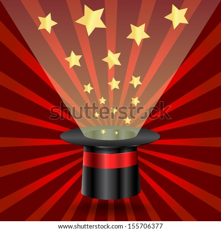 Magic hat with stars on rays background - stock photo