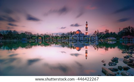 Magic Hour During Sunset At Kuala Ibai Lagoon . Strong Noise Visible Due To Long Exposure . Blur Soft Focus . Nature Composition - stock photo