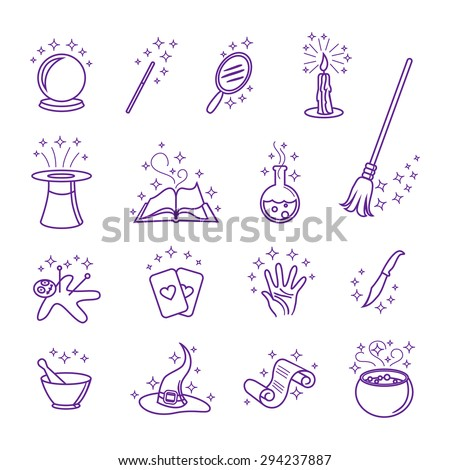 Magic icons in line style set. Hat and wand, magician and circus, magical card illustration - stock photo