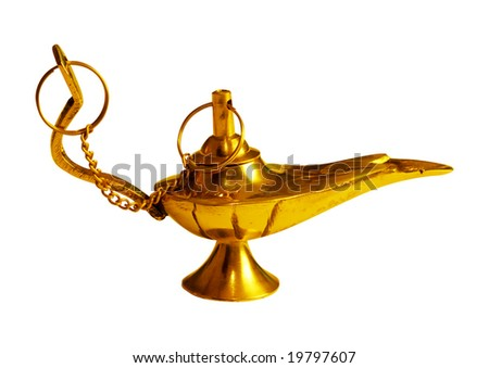 Magic lamp isolated - stock photo